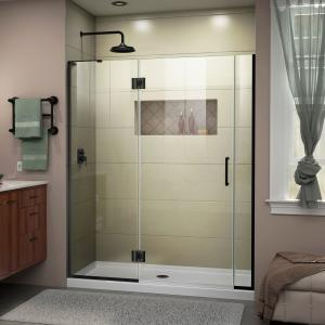 DreamLine Unidoor-X 58-58 1/2 in. W x 72 in. H Frameless Hinged Shower Door in Satin Black
