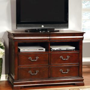 Furniture of America Leonora Traditional 4-Drawer Media Chest, Cherry
