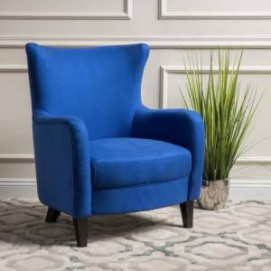 Noble House Fabric Club Accent Chair, Royal Blue
