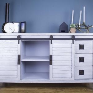 Light Grey Accent Cabinet with 2 Doors and 6 Drawers