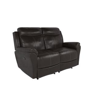 Relax-A-Lounger Palmer Recliner Loveseat with Vegan Leather, Chocolate Brown