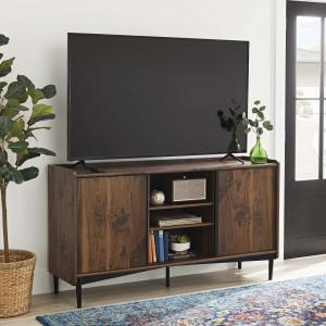 Better Homes & Gardens Montclair TV Stand Storage Console for TVs up to 65″, Vintage Walnut Finish