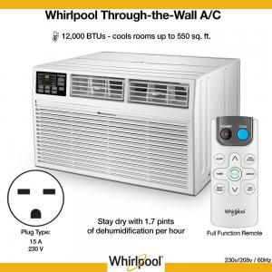 Whirlpool Energy Star 12,000 BTU 230V Through-the-Wall Air Conditioner with Remote Control