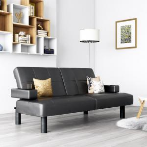 Mainstays Connectrix Faux Leather Futon with Cupholders, Multiple Colors