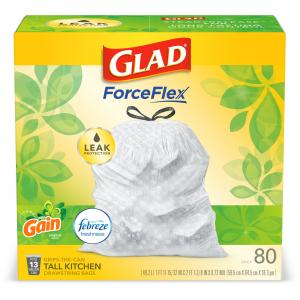 Glad Tall Kitchen Trash Bags, 13 Gallon, 80 Bags (ForceFlex, Gain Original)
