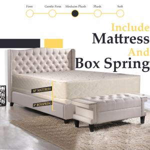 Spring Solution, 10″ Fully Assembled Innerspring Back Support Long Lasting Mattress and 8″ Wood Box Spring/Foundation Set, Queen Size