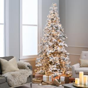 Heavy Flocked Layered Spruce Pre-lit Christmas Tree by Sterling Tree Company
