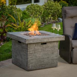 Ford Magnesium Oxide Square Gas Fire Pit, Grey