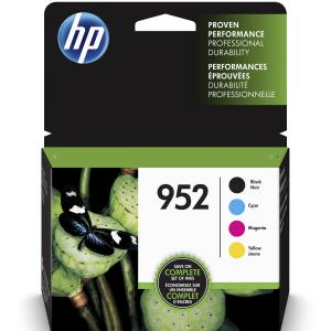 HP 952 Ink Cartridges – Black, Cyan, Magenta, Yellow, 4 Cartridges (X4E07AN)