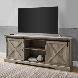 Manor Park Modern Sliding Door TV Stand for TVs up to 80″, Grey