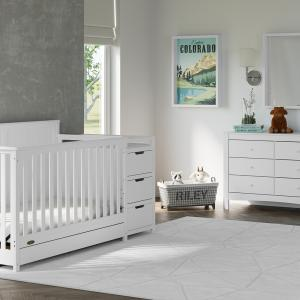 Graco Hadley 4-in-1 Convertible Crib and Changer with Drawer, White