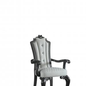Delphine Arm Chair in Beige Leather-Aire & Charcoal Finish
