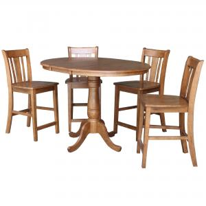 36″ Round Extension Dining Table with 4 San Remo Stools