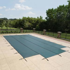 Blue Wave 16′ x 32′ Rectangular Mesh In-Ground Pool Safety Cover with 4′ x 8′ Center Step – Green