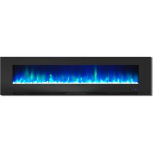 Cambridge 78″ Wall-Mount Electric Fireplace Heater with Multi-Color LED Flames and Crystal Rock Display