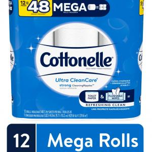 Cottonelle Ultra CleanCare Strong Toilet Paper, 12 Mega Rolls, Bath Tissue (12 Mega Rolls = 48 Regular Rolls)