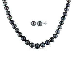 8-10mm Black Tahitian Cultured Pearl 14kt White Gold Earrings and Necklace Two-Piece Set