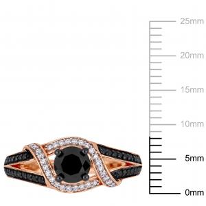 1 Carat T.W. Black and White Diamond 10kt Rose Gold Crossover Ring