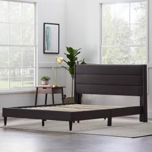 Rest Haven Linen Inspired Triple Lined Upholstered Bed, Queen, Charcoal