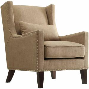 Weston Home St Alden Living Room Linen Accent Chair with Matching Throw Pillow, Light Brown