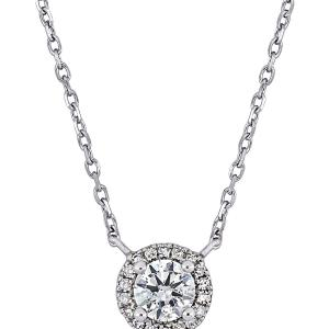 1/3 Carat T.W. Diamond 14kt White Gold Halo Necklace