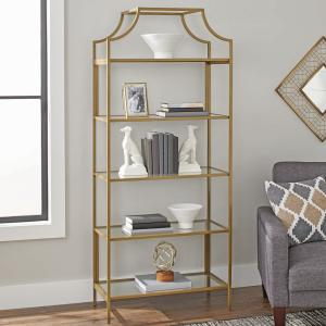 Better Homes & Gardens 71″ Nola 5 Tier Etagere Bookcase, Gold Finish
