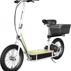Razor EcoSmart Metro Electric Scooter – Padded Seat, Wide Bamboo Deck, 16″ Air-Filled Tires, 500w High-Torque Motor, Up to 18 mph, 12-Mile Range, Rear-Wheel Drive