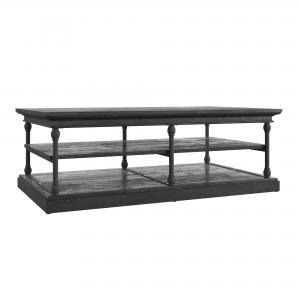 Weston Home Cabana Rectangular Storage Shelf Coffee Table, Black