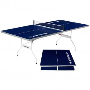 Dunlop Mid Size 96″ Indoor & Outdoor Portable Table Tennis Table, Pre Assembled, Blue