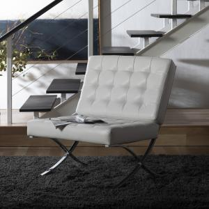 Studio Designs Home Atrium Lounge, Accent Chair in White Bonded Leather and Chrome Metal