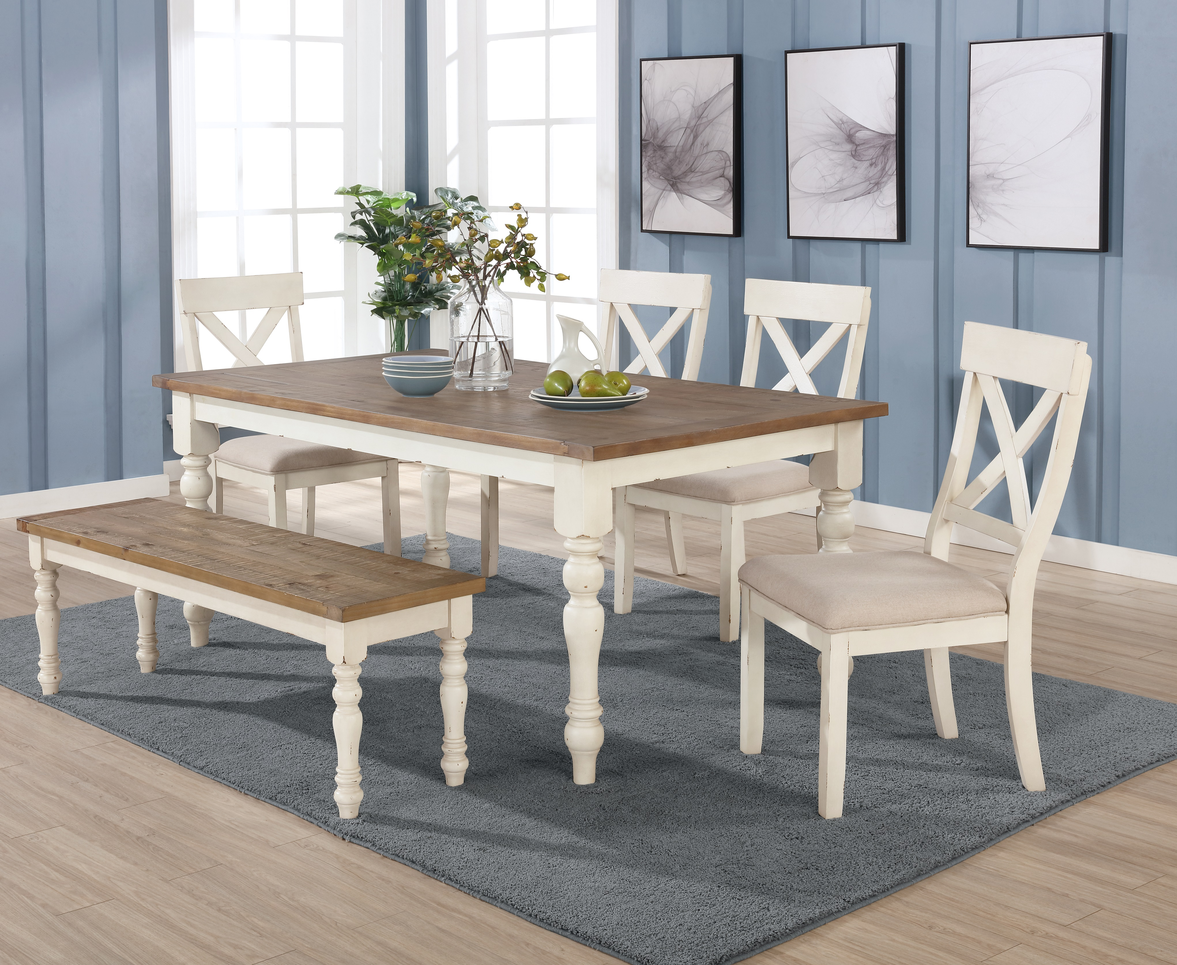 Prato 6-piece Dining Table Set With Cross Back Chairs and Bench, Antique White and Distressed Oak