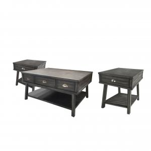 Abbyson Derby Wood Table 3-Piece Set with Drawers, Gray