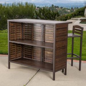 Noble House Marcus Outdoor Acacia Bar Table, Dark Brown and Rustic Metal