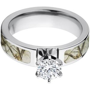 1 Carat T.G.W. Round CZ in 14kt White Gold Setting Cobalt Camo Engagement Ring with a RealTree Snow Camo Inlay