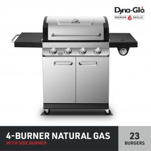 Dyna-Glo Premier 4 Burner Stainless Steel Natural Gas Grill Outdoor BBQ w/ Side Burner
