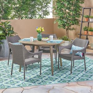 Lindsey Outdoor 5 Piece Wood and Wicker Dining Set, Gray, Gray