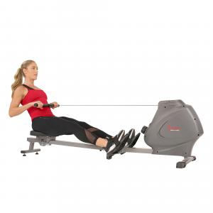 Sunny Health & Fitness Magnetic Rowing Machine Rower, LCD Monitor with Bottle Holder – Synergy Power Motion – SF-RW5801