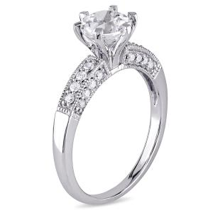 1-3/8 Carat T.G.W. Created White Sapphire and 1/4 Carat T.W. Diamond 10kt White Gold Engagement Ring