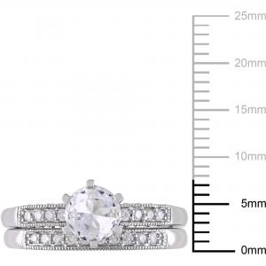 1 Carat T.G.W. Created White Sapphire and 1/3 Carat T.W. Diamond 10kt White Gold Bridal Set