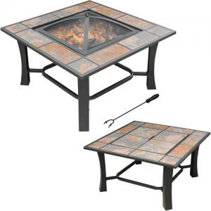 Axxonn 32″, 2-in-1 Malaga Convertible Square Tile Top Fire Pit Coffee Table