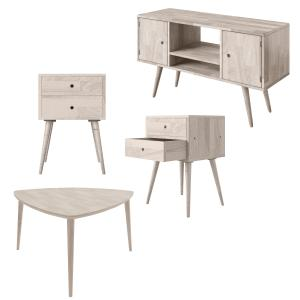 Homesvale Esos 4-Piece Midcentury Modern Triangular Cocktail Table, End Tables with Drawers and Entertainment Cabinet