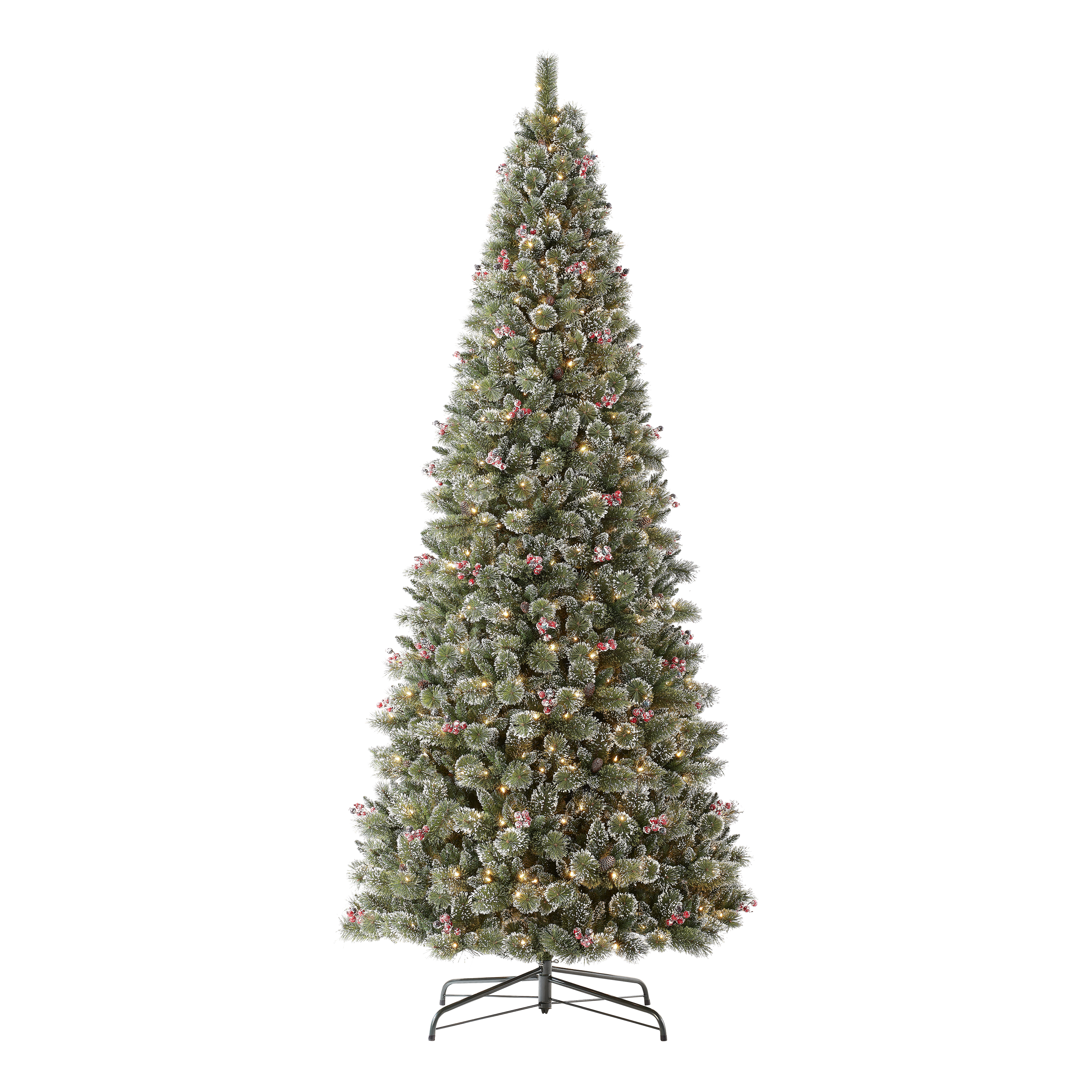 Holiday Time Pre-Lit Glittering Frost Pine Christmas Tree, Warm White LED, 12'