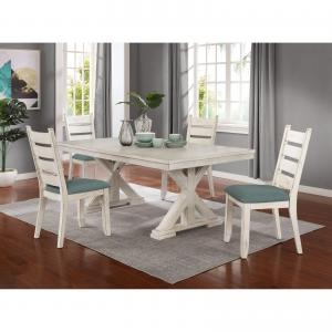 Florina Antique White Wood Trestle 5-Piece Dining Set: Dining Table with 4 Chairs