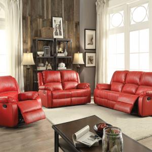 ACME Zuriel Reclining Loveseat in Red Faux Leather Upholstery