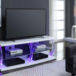 Acme Aileen LED TV Stand with Rectangular Top in Clear Glass, Multiple Colors