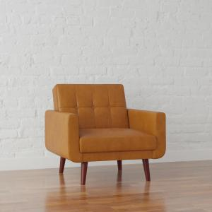 Better Homes & Gardens Nola Modern Chair with Arms, Camel Faux Leather