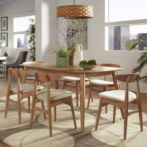Chelsea Lane Mid Century Modern 7-Piece Dining Set, 60″ Table, Beige Upholstery, Ash Finish