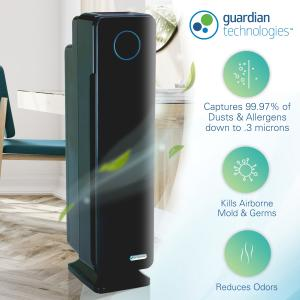 GermGuardian Air Purifier with True HEPA Filter and UV-C Sanitizer, 4-in-1 AC5350BCA 28-Inch Tower