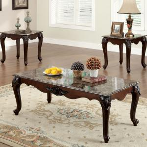 Furniture of America Theo Traditional 3-Piece Coffee Table Set, Dark Cherry