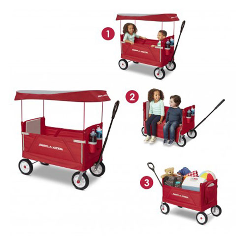 Radio Flyer, 3-in-1 All Terrain Off-Road EZ Folding Kids Wagon with Canopy, Red